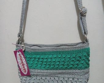 Knitted Sling Bag in green & gray