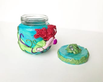 Red Haired Mermaid Polymer Clay Jar