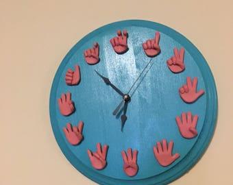 Handmade sign language clock