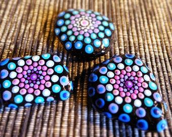 pebbles zen mandala decoration purple/blue set 3 small hand painted