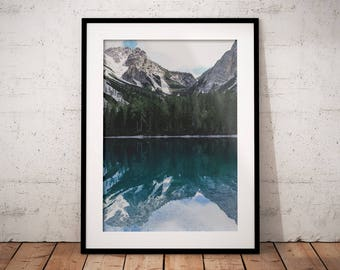 Mountain Lake Printable, Water Reflection Digital Print, Alpine Landscape, Nature Photography, Dolomites Wall Decor, Alps House Decoration