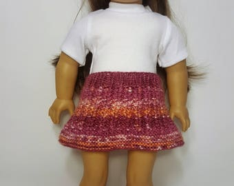"Pink/Orange Knit Doll Skirt - Doll Clothes - Hand-made to fit like American Girl Doll Clothes - 18"" Doll Clothes - Knit Doll Clothes"