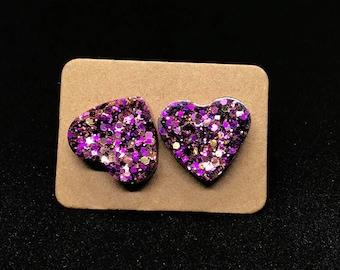 Large heart-shaped sparkle stud earrings