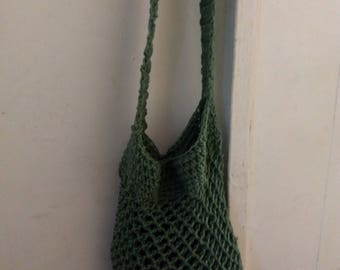 Olive green crochet market tote