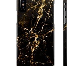 Marble iPhone Case, Black Gold, iPhone 8 Plus Case, iPhone X 10 Case, iPhone 7 Case, iPhone 8 Case, iPhone 6 Case,