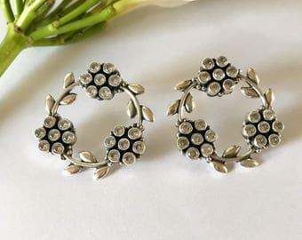 Sterling Silver Floral Earrings, Flower Wreath Earrings, Sterling Silver Floral Studs, Silver & Zircon Stone Earring, Elegant Flower Earring