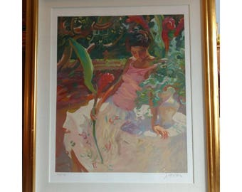 Original Art - Thoughful Girl Hand Painted Print Numbered and Signed