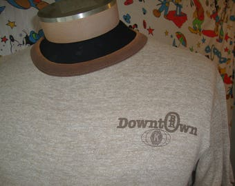 Vintage 80's RR Downtown Brown BR Rayon Tri Blend Made in USA Ringer T shirt Sz M
