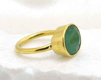 Natural Emerald Gemstone Ring- Bezel Set Stone Ring- Yellow Gold on Sterling Silver Ring- Faceted Emerald Ring- May Birthstone Gift Ring
