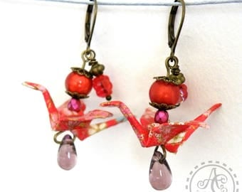 Origami cranes, red and pink earrings