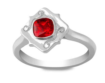 The Rome Ring - Lab Grown Ruby 14K White Gold
