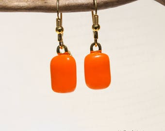 Earrings in 925 sterling silver and orange glass