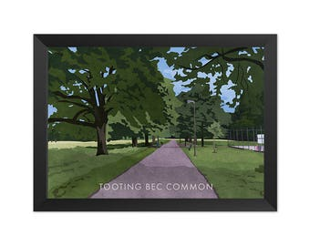 Tooting Bec Common - Giclée Art Print - South London Poster