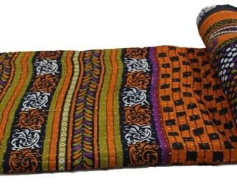 Old Vintage Sari Kantha Quilt Handmade Cotton Kantha Bedspread Kantha Gudri Cotton Blanket 139