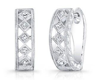 14k white gold, Genuine Diamond Earring