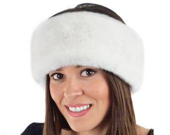 Faux Fur Headband, WHITE SABLE Faux Fur Fur Head Warmer, Ear Warmer