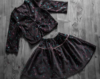 Skirt, blouse, brown, glitter set