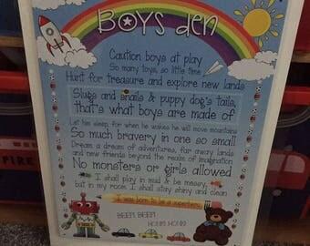 Little Boys Bedroom Playroom Vintage Wall Sign