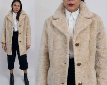 Faux sheepskin fur trench coat. Vintage.
