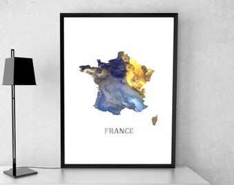 France poster, France art, France map, France print, Gift print, Poster