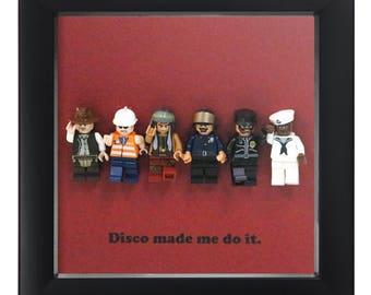 Lego Village People shadow box