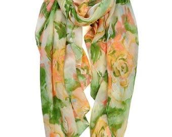 Elegant Parisiene vintage floral print viscose scarf