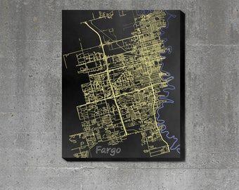 Streets of Fargo - Print Poster or Canvas - Art Map of the City of Fargo, ND