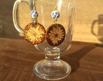 Wood Burned Sunflower Dangle Earrings
