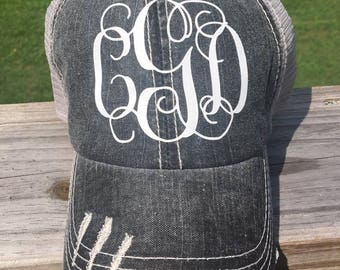 Distressed Trucker Hat, Monogrammed,hats,Black