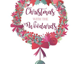 Christmas Family Wreath print