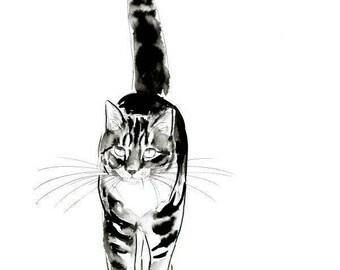 Tabby Cat Original Watercolor Painting