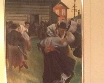 Vintage Zorn copy! Oil on canvas early 1900's