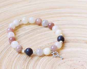 Moonstone / Lava Dissuser  Bracelet with key charm