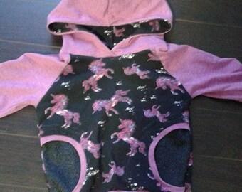 Pink unicorn Grow with me Hoodie