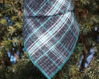 Storm | Plaid Dog Bandana | Dog Bandana | Dog Scarf | Traditional Square Bandana |