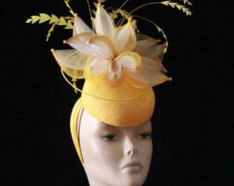 Stunning Yellow and White Fascinator
