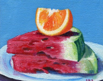 Summer Fruit 5x5 Acrylic Painting