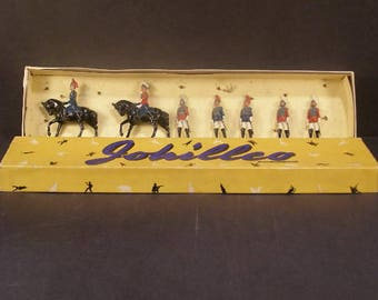 Antique 1930's Johillco Toy Lead Britains Cavalry Soldier Horse Litho Box Set Orig