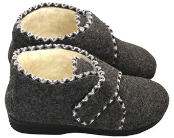 New Slippers women FELTED slippers gray house shoe  gift for her felt shoes wool home slipper fur winter warm moccasins boots footwear gift
