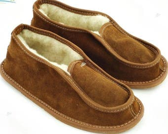 Man slippers natural leather slippers man shoes leather shoes sheepskin slippers fur slippers woolen indoor boots men boyfriend father gift