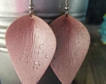 Blush cork leaf or teardrop earrings