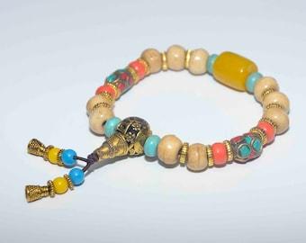 Yak Bone Bracelets/Tibetan Beads spacers/coral spacers/Turquoise spacers/brass spacers