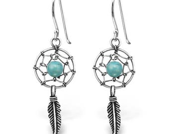 Pair of 925 solid sterling silver dream catcher hook earrings gift boxed