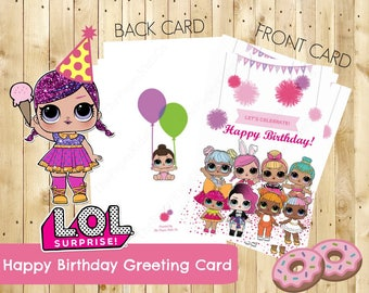 L.O.L Surprise Dolls - Custom made Birthday Card For Her