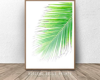 Green Plant Leaves, Palm Print Tropical , Tropical Digital, Palm Tree Art, Palm Printable Art, Leaf Digital Poster,  Photography Print