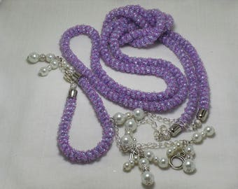 "Set ""Lilac Raspberry""of  beads in the technique of ""Turkish tourniquet"""