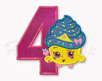Shopkins Cupcake Queen Fourth birthday Applique Embroidery Design, Shopkins Machine Embroidery Designs, Digital Instant Download, #021