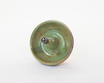 Tortouise green and brown ring holder, jewelry dish, earring holder, wheel thrown with earthenware clay