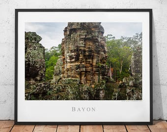 Bayon Temple Travel Poster, Cambodia Photography Print, Asia History Wall Decor, Archaeology Ruins Wall Art, Siem Reap Photo, Angkor Wat