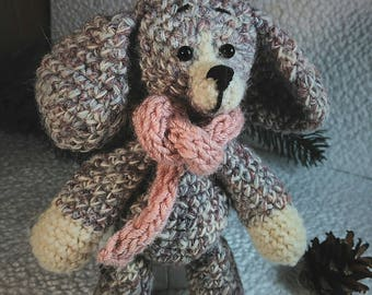 Crochet dog with scarf Crochet pocket toy for children  Amigurumi animals  Stuffed toy Gift to dog lovers Gift for friend Gift for children